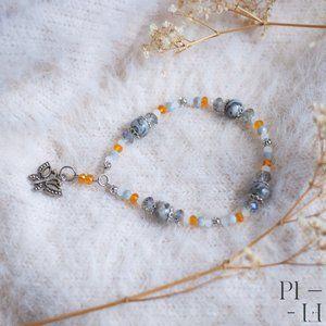 2/60$ bracelet natural grey jasper gemstones
